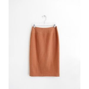 Vtg J. Crew Orange Stripe Wool Pencil Skirt sz 6